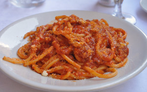 pasta bucatini all'Amatriciana  best private tours in Italy