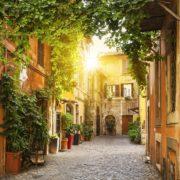 View of Old street in Trastevere in Rome