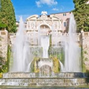 Fountain of Neptune and Organ in villa dEste in Tivoli, Italy