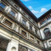 Uffizi Gallery in Florence under a blue sky