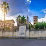 Piazza dei Cavalieri di Malta (Square of Knights of Malta) on the Aventine Hill in Rome. Italy
