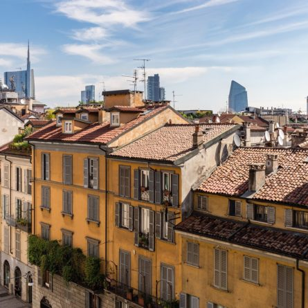 View of Brera roofs, typical neighborhood in Milan, Italy