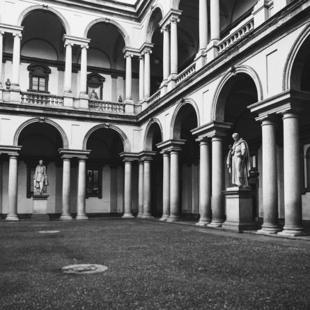 vintage antique style courtyard in the monuments and columns
