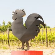 The symbol of the Chianti Classico wine along a road in Tuscany
