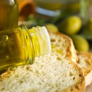 bread with olive oil and olives