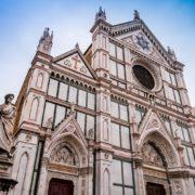 Basilique Santa Croce de Florence et statue de Dante, Toscane en Italie