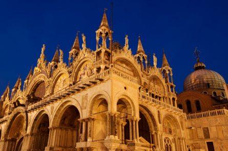 Basilica di San Marco illuminated at night on Piazza San Marco
