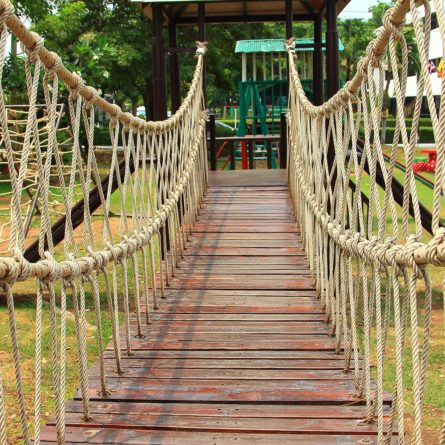 wood bridge and rope with adventure