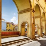 View of the Vasari Corridor in Florence, Tuscany, Italy