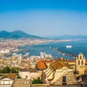 City of Naples (Napoli) with Mt Vesuvius at sunset, Campania, Italy