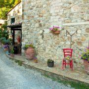 Narrow street in a village in Tuscany, Italy